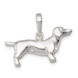 Sterling Silver 3D Dachshund Pendant - The Black Bow Jewelry Co.