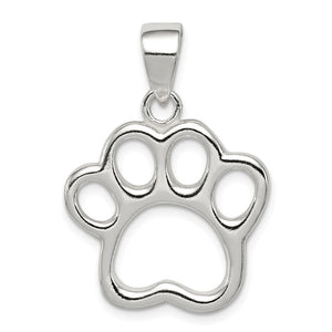 Sterling Silver 20mm Open Paw Print Pendant - The Black Bow Jewelry Co.