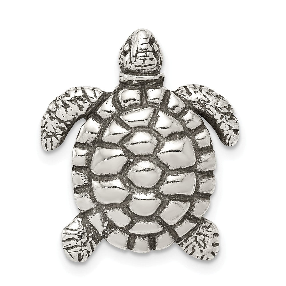 Sterling Silver Antiqued Sea Turtle Slide, Item P10841 by The Black Bow Jewelry Co.