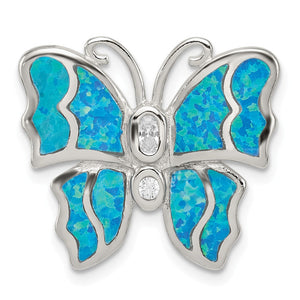 Sterling Silver, Created Opal & CZ Butterfly Pendant, 20mm - The Black Bow Jewelry Co.