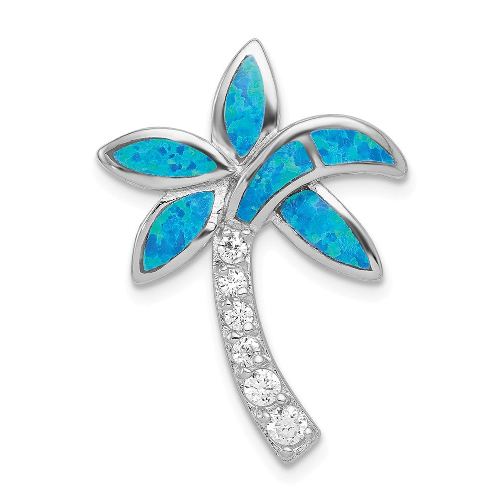 Sterling Silver, Created Opal and Cubic Zirconia Palm Tree Pendant, Item P10845 by The Black Bow Jewelry Co.
