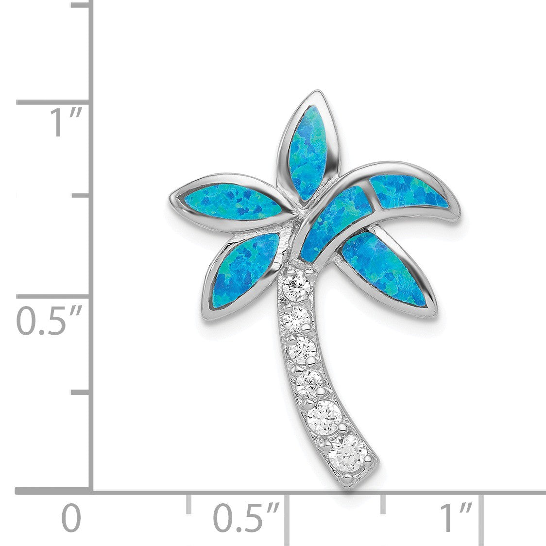 Alternate view of the Sterling Silver, Created Opal and Cubic Zirconia Palm Tree Pendant by The Black Bow Jewelry Co.