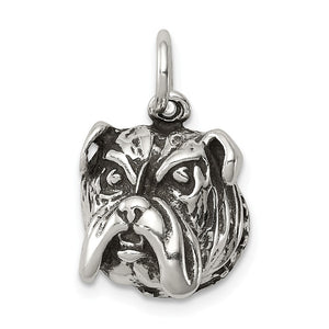 Sterling Silver 12mm Antiqued Bulldog Head Charm or Pendant - The Black Bow Jewelry Co.