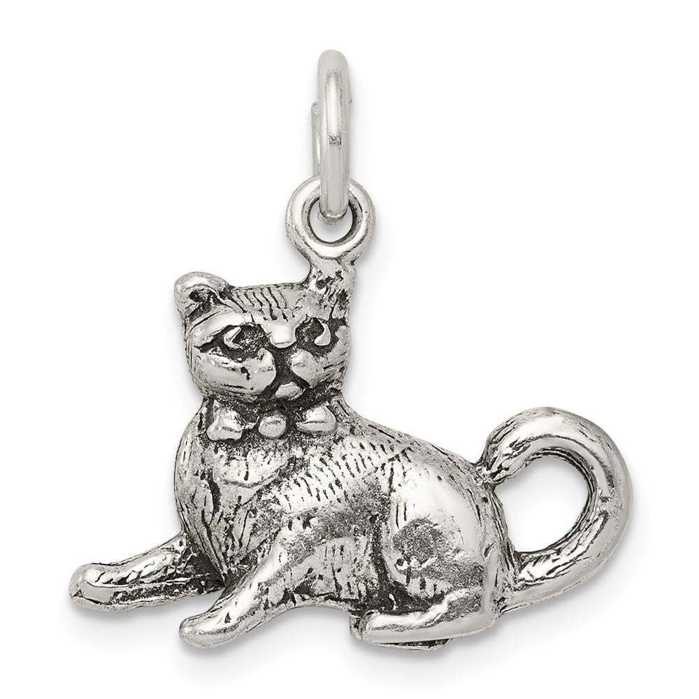 Sterling Silver 3D Antiqued Cat Charm or Pendant, Item P10850 by The Black Bow Jewelry Co.