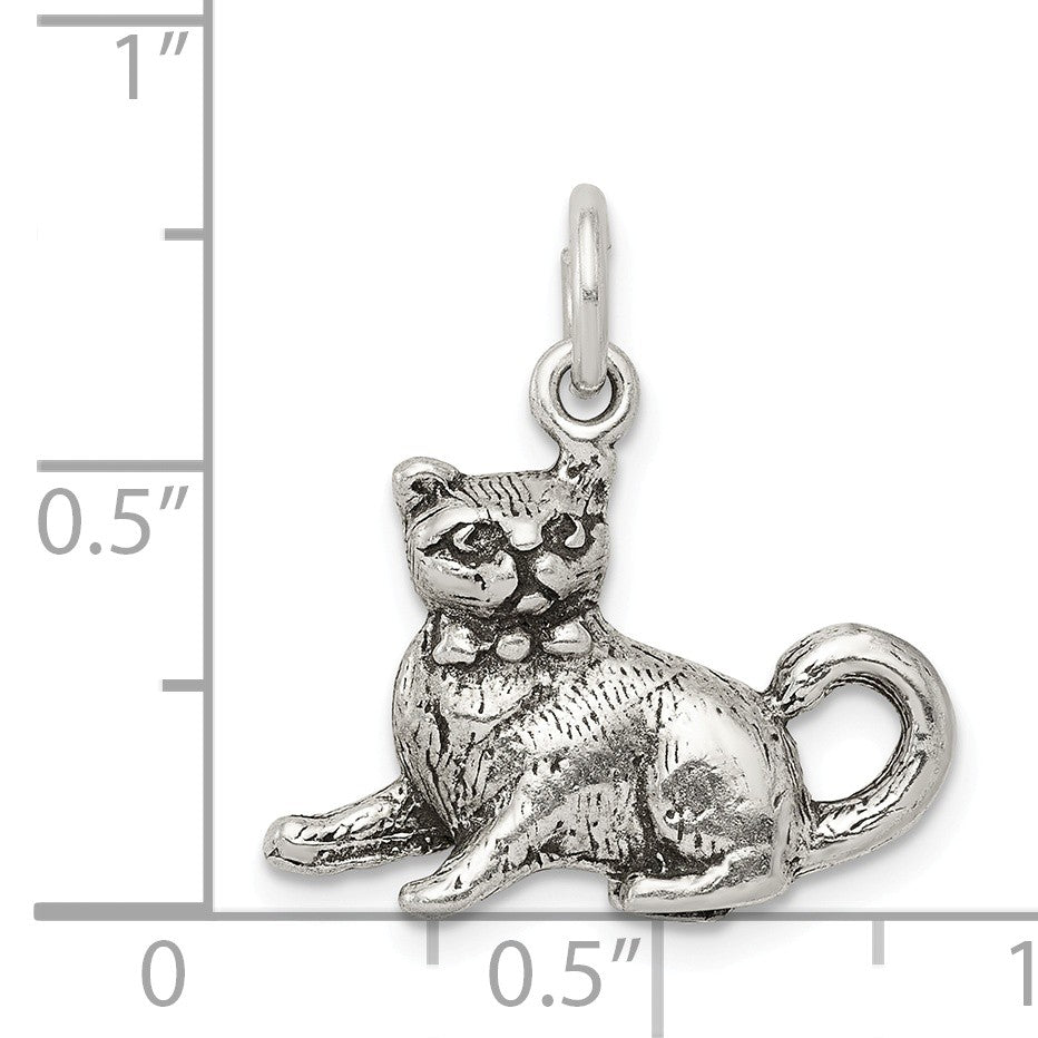 Alternate view of the Sterling Silver 3D Antiqued Cat Charm or Pendant by The Black Bow Jewelry Co.