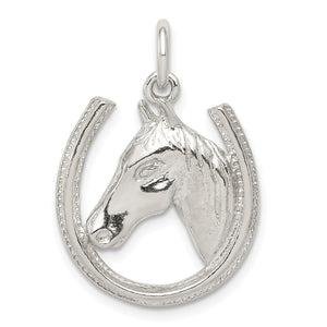Sterling Silver Polished Horseshoe and Horse Head Pendant - The Black Bow Jewelry Co.