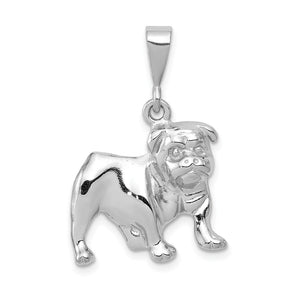 14k White Gold Polished 2D Bulldog Pendant - The Black Bow Jewelry Co.