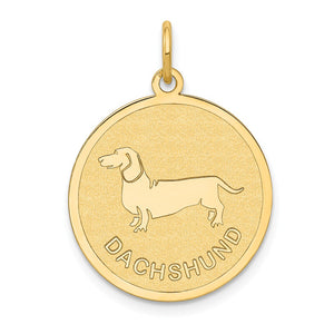 14k Yellow Gold Laser Etched Dachshund Disc Pendant, 19mm - The Black Bow Jewelry Co.