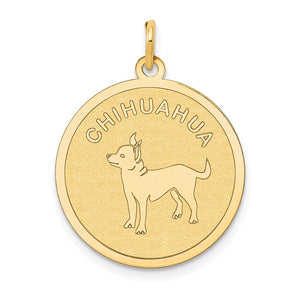 14k Yellow Gold Laser Etched Chihuahua Disc Pendant, 19mm - The Black Bow Jewelry Co.