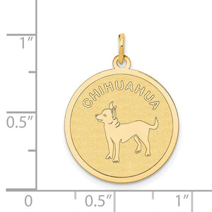 Alternate view of the 14k Yellow Gold Laser Etched Chihuahua Disc Pendant, 19mm by The Black Bow Jewelry Co.