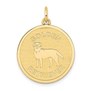 14k Yellow Gold Laser Etched Golden Retriever Disc Pendant, 19mm - The Black Bow Jewelry Co.