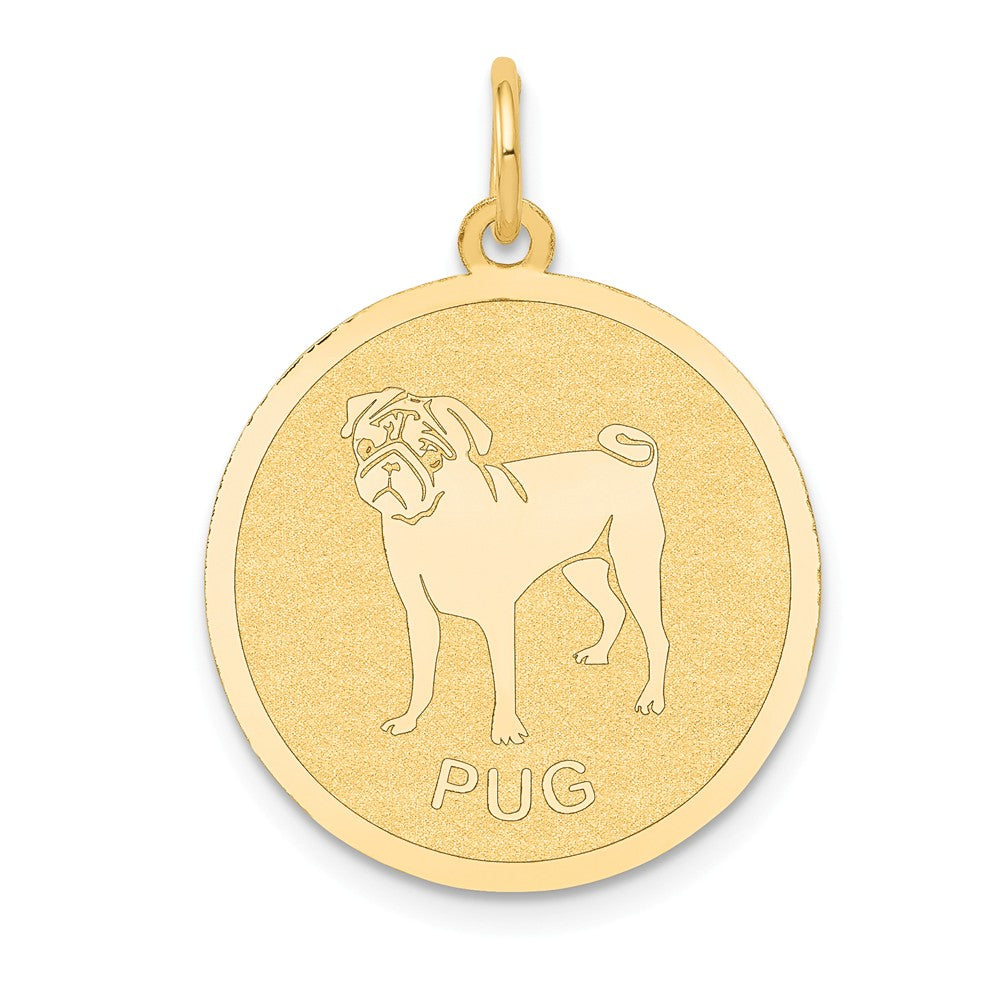 14k Yellow Gold Laser Etched Pug Disc Pendant, 19mm, Item P10875 by The Black Bow Jewelry Co.