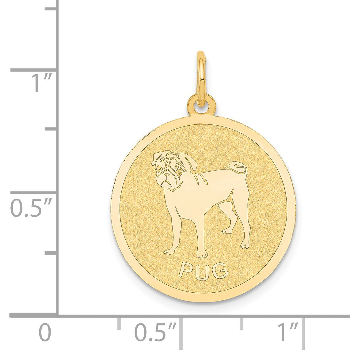 Alternate view of the 14k Yellow Gold Laser Etched Pug Disc Pendant, 19mm by The Black Bow Jewelry Co.