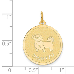 Alternate view of the 14k Yellow Gold Laser Etched Shih Tzu Disc Pendant, 19mm by The Black Bow Jewelry Co.