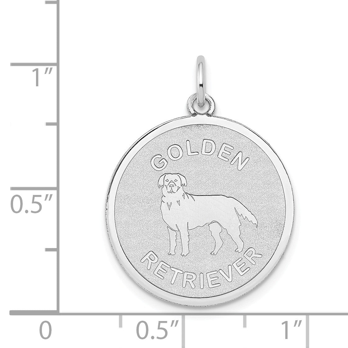 Alternate view of the 14k White Gold Laser Etched Golden Retriever Disc Pendant, 19mm by The Black Bow Jewelry Co.