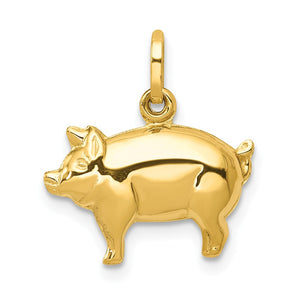 14k Yellow Gold 3D Polished Pig Charm or Pendant - The Black Bow Jewelry Co.