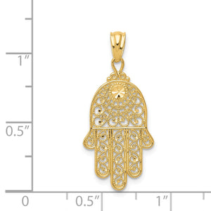 Alternate view of the 14k Yellow Gold Filigree Hamsa Pendant by The Black Bow Jewelry Co.