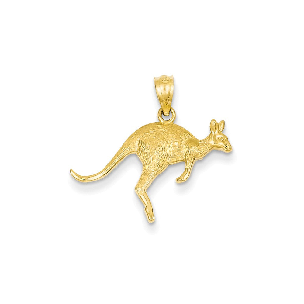 14k Yellow Gold Hopping Kangaroo Pendant, Item P10885 by The Black Bow Jewelry Co.