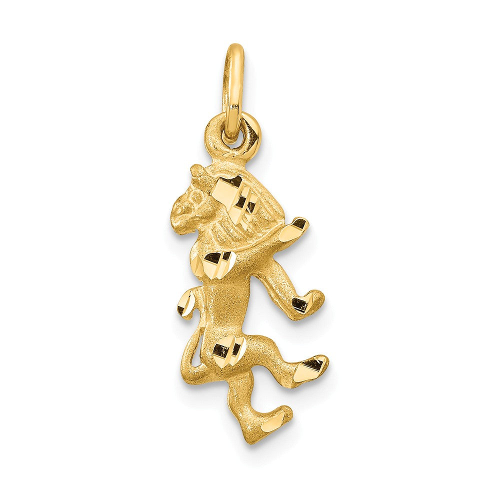 14k Yellow Gold Leo the Lion Zodiac Satin and Diamond Cut Charm, Item P10936 by The Black Bow Jewelry Co.