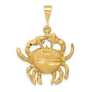 14k Yellow Gold Large Cancer the Crab Zodiac Pendant - The Black Bow Jewelry Co.
