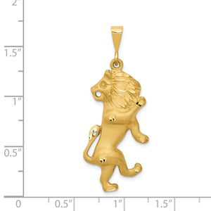 14k Yellow Gold Large Leo the Lion Zodiac Pendant