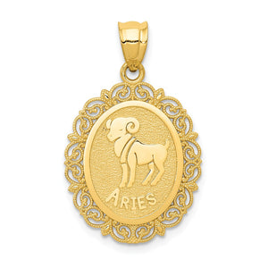 14k Yellow Gold Filigree Oval Aries the Ram Zodiac Pendant, 20mm - The Black Bow Jewelry Co.