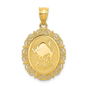 14k Yellow Gold Filigree Oval Taurus the Bull Zodiac Pendant, 20mm - The Black Bow Jewelry Co.