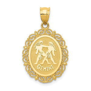 14k Yellow Gold Filigree Oval Gemini the Twins Zodiac Pendant, 20mm - The Black Bow Jewelry Co.