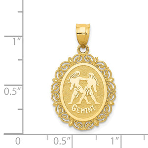 14k Yellow Gold Filigree Oval Gemini the Twins Zodiac Pendant, 20mm