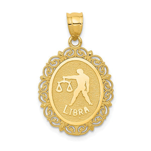 14k Yellow Gold Filigree Oval Libra the Scale Zodiac Pendant, 20mm - The Black Bow Jewelry Co.