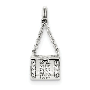 Sterling Silver and Cubic Zirconia 3D Purse Charm - The Black Bow Jewelry Co.