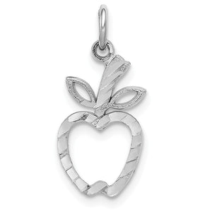 14k White Gold Diamond Cut Apple Silhouette Charm - The Black Bow Jewelry Co.