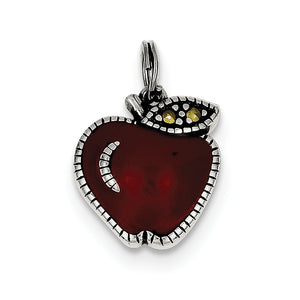 Sterling Silver, Marcasite and Red Enamel Antiqued Apple Charm - The Black Bow Jewelry Co.