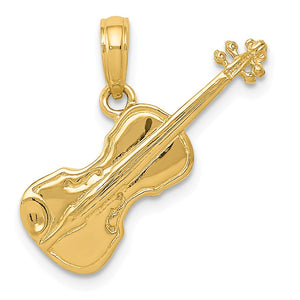 14k Yellow Gold 3D Violin Pendant - The Black Bow Jewelry Co.