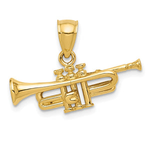 14k Yellow Gold 3D Horizontal Trumpet Pendant - The Black Bow Jewelry Co.
