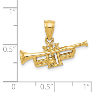 Alternate view of the 14k Yellow Gold 3D Horizontal Trumpet Pendant by The Black Bow Jewelry Co.