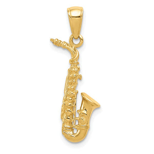 14k Yellow Gold 3D Saxophone Pendant - The Black Bow Jewelry Co.