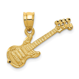 14k Yellow Gold Satin and Diamond Cut Guitar Pendant - The Black Bow Jewelry Co.