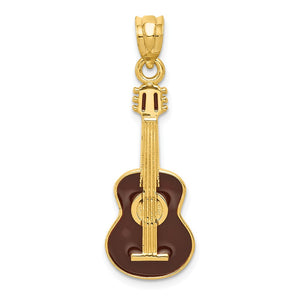 14k Yellow Gold Black Enameled Acoustic Guitar Pendant - The Black Bow Jewelry Co.