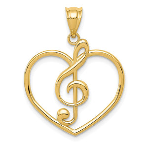 14k Yellow Gold Treble Clef and Heart Pendant - The Black Bow Jewelry Co.