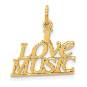 14k Yellow Gold Polished I love Music Script Pendant - The Black Bow Jewelry Co.
