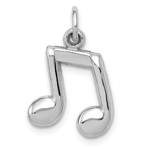 14k White Gold 2D Double Music Note Charm - The Black Bow Jewelry Co.