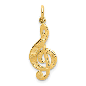 14k Yellow Gold Treble Clef with Music Notes Pendant - The Black Bow Jewelry Co.