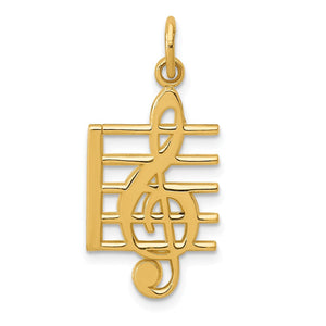 14k Yellow Gold Treble Clef and Staff Pendant - The Black Bow Jewelry Co.