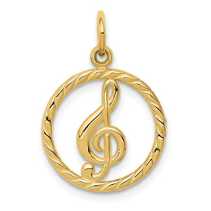 14k Yellow Gold Treble Clef Circle Charm, 15mm - The Black Bow Jewelry Co.