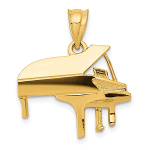 14k Yellow Gold Baby Grand Piano Pendant - The Black Bow Jewelry Co.