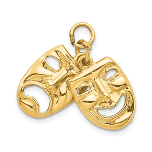 14k Yellow Gold Comedy and Tragedy Pendant - The Black Bow Jewelry Co.