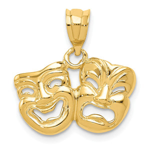 14k Yellow Gold Polished Comedy and Tragedy Pendant - The Black Bow Jewelry Co.