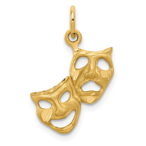 14k Yellow Gold Satin Diamond Cut Comedy and Tragedy Mask Charm - The Black Bow Jewelry Co.