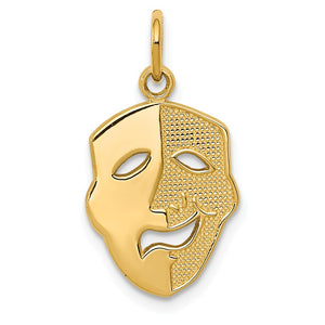 14k Yellow Gold Comedy / Tragedy Mask Charm - The Black Bow Jewelry Co.